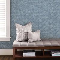 Navy Poplin Texture Peel & Stick Wallpaper