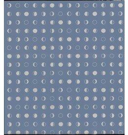 Lunar Wallpaper - Denim/Sliver