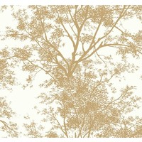 Tree Silhouette Sidewall Wallpaper - Gold