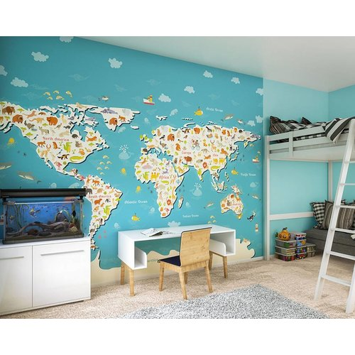 Animals Of The World Map Wall Mural