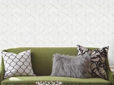 Striped hexagon - White/Grey
