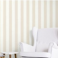 Awning Stripe- Tan/White Peel & Stick Wallpaper