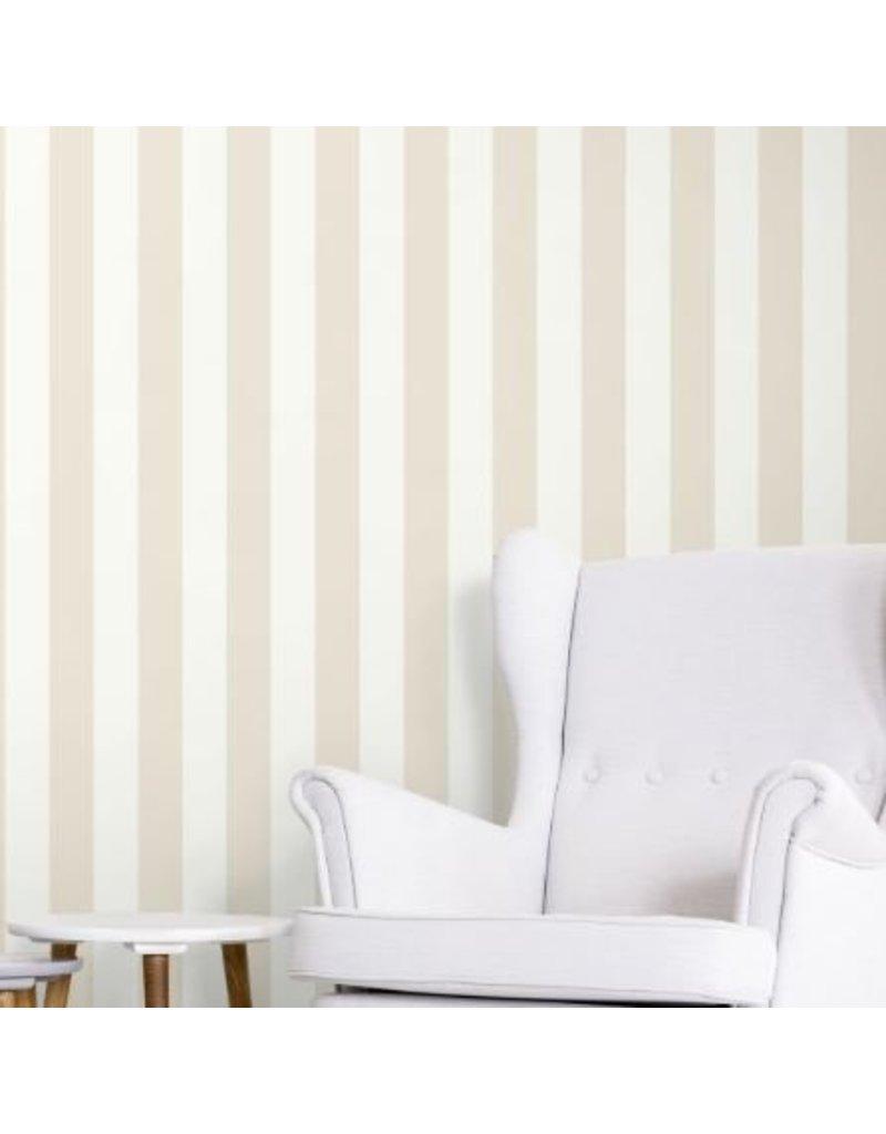 Awning Stripe Tan White Peel Stick Wallpaper