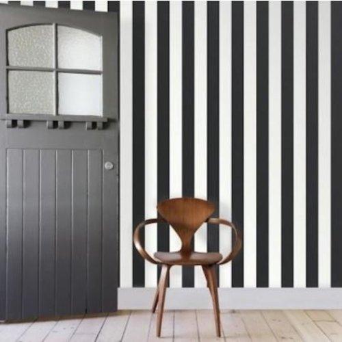 Awning Stripe- Black/ White Peel & Stick Wallpaper
