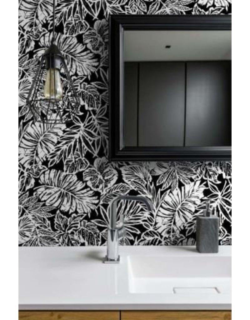Tropical Leaf Black Peel Stick Wallpaper