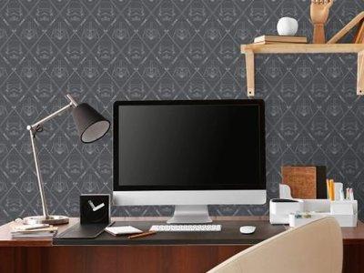 The Dark Side - Black/Silver Peel & Stick Wallpaper