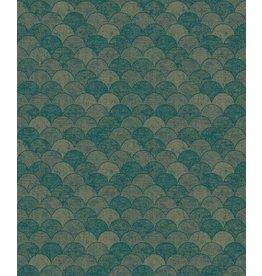 York Mermaid Scales Wallpaper- Teal/Gold