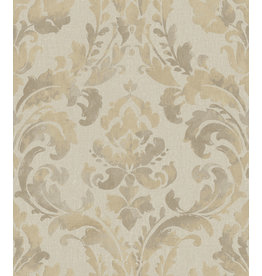 Beige and Silver Damask