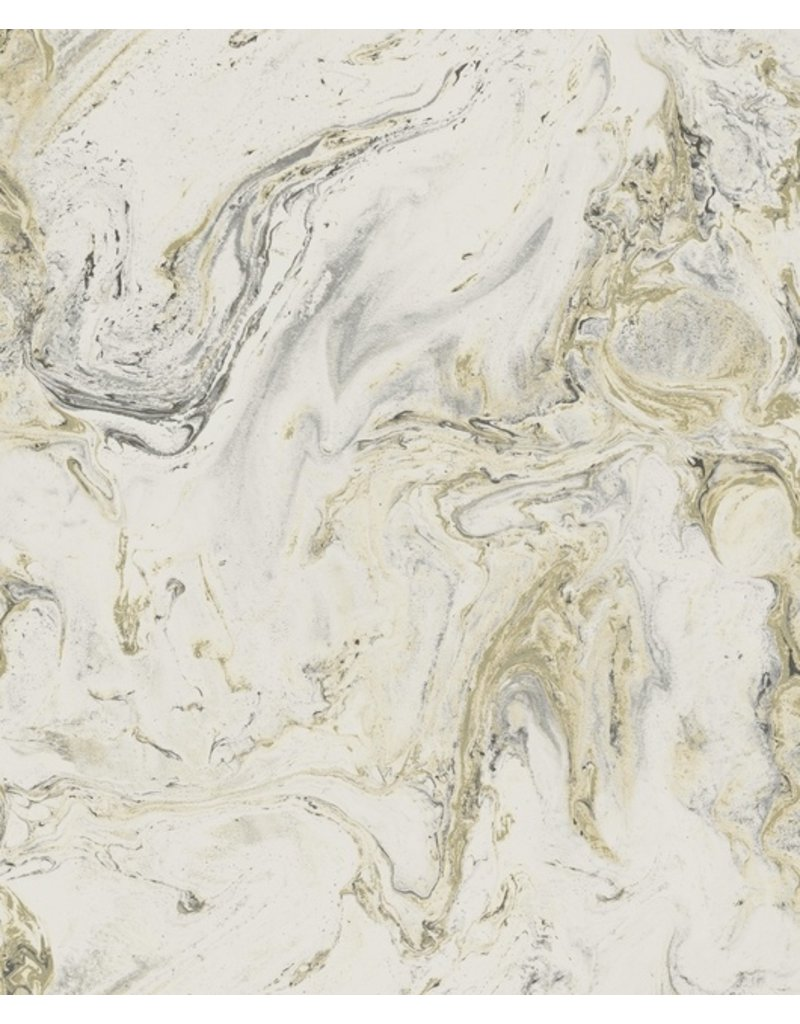 York Oil Marble Wallpaper White Black Gold