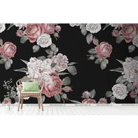Vintage Peonies and Roses  black background