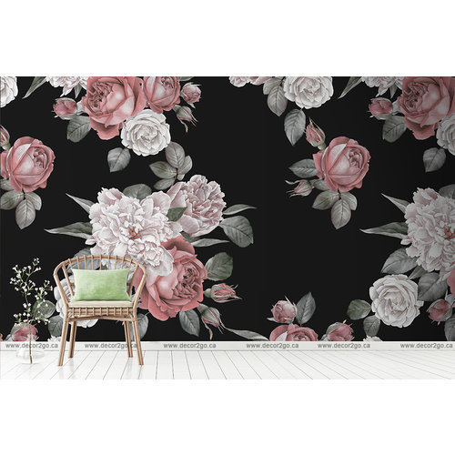 Vintage Peonies and Roses  black background