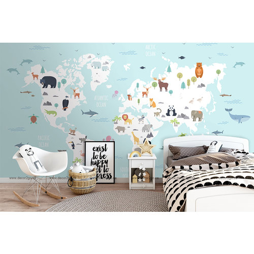 World map with wild animals