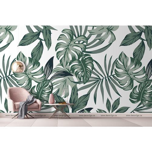 Tropical Big Green Leaves Seamless