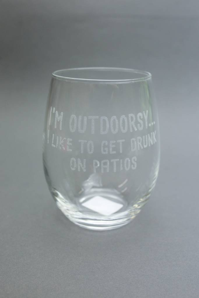 Stemless Wine Glass, Engraved I'm Outdoorsy