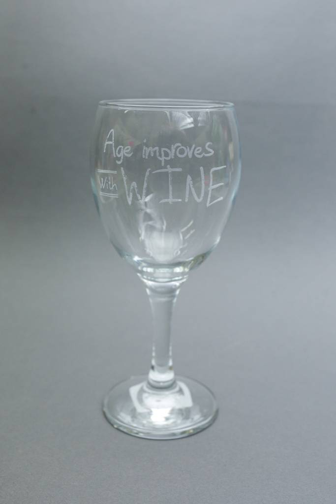 Wine Glass, Engraved Age Improves with Wine