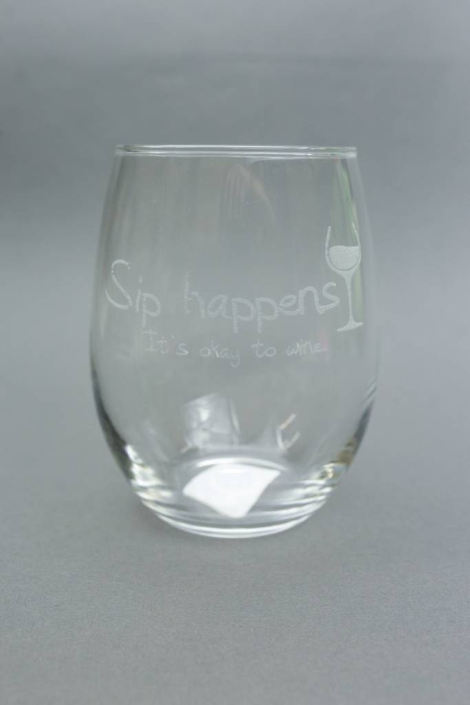 Stemless Wine Glass, Engraved Sip Happens