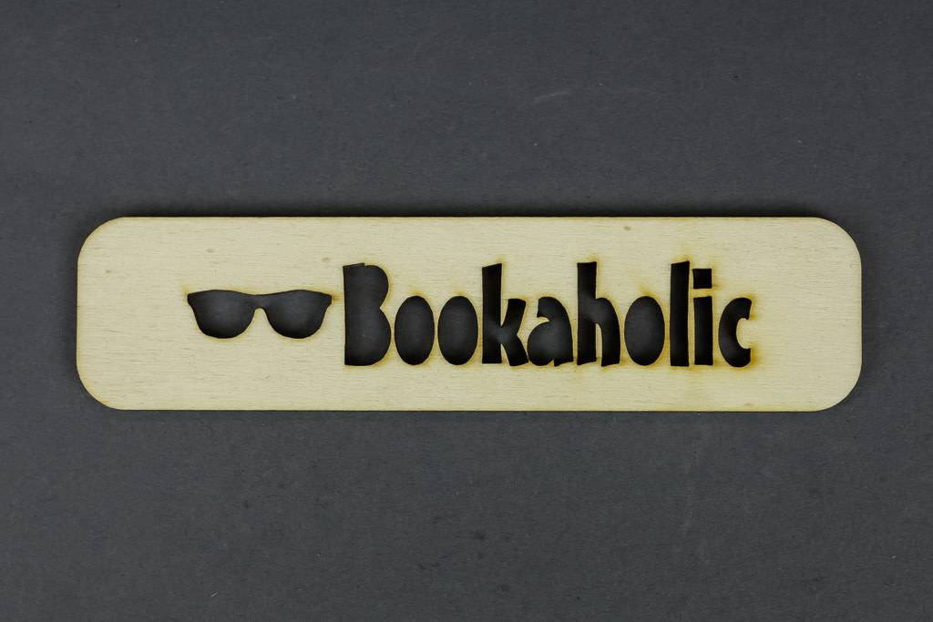 Wood Bookmark, Bookaholic