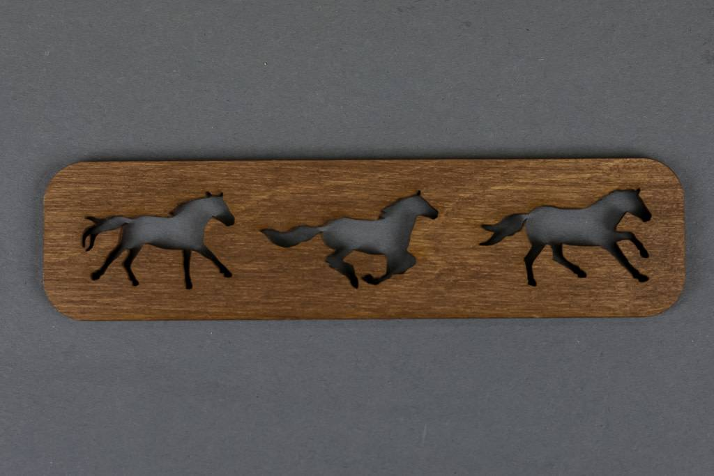 Wood Bookmark, Horses Running