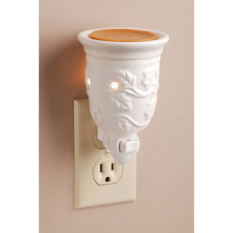 Electric Wax Melter, Plug-In, Embossed White