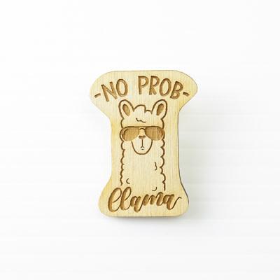 Wood Magnet, No Prob-Llama