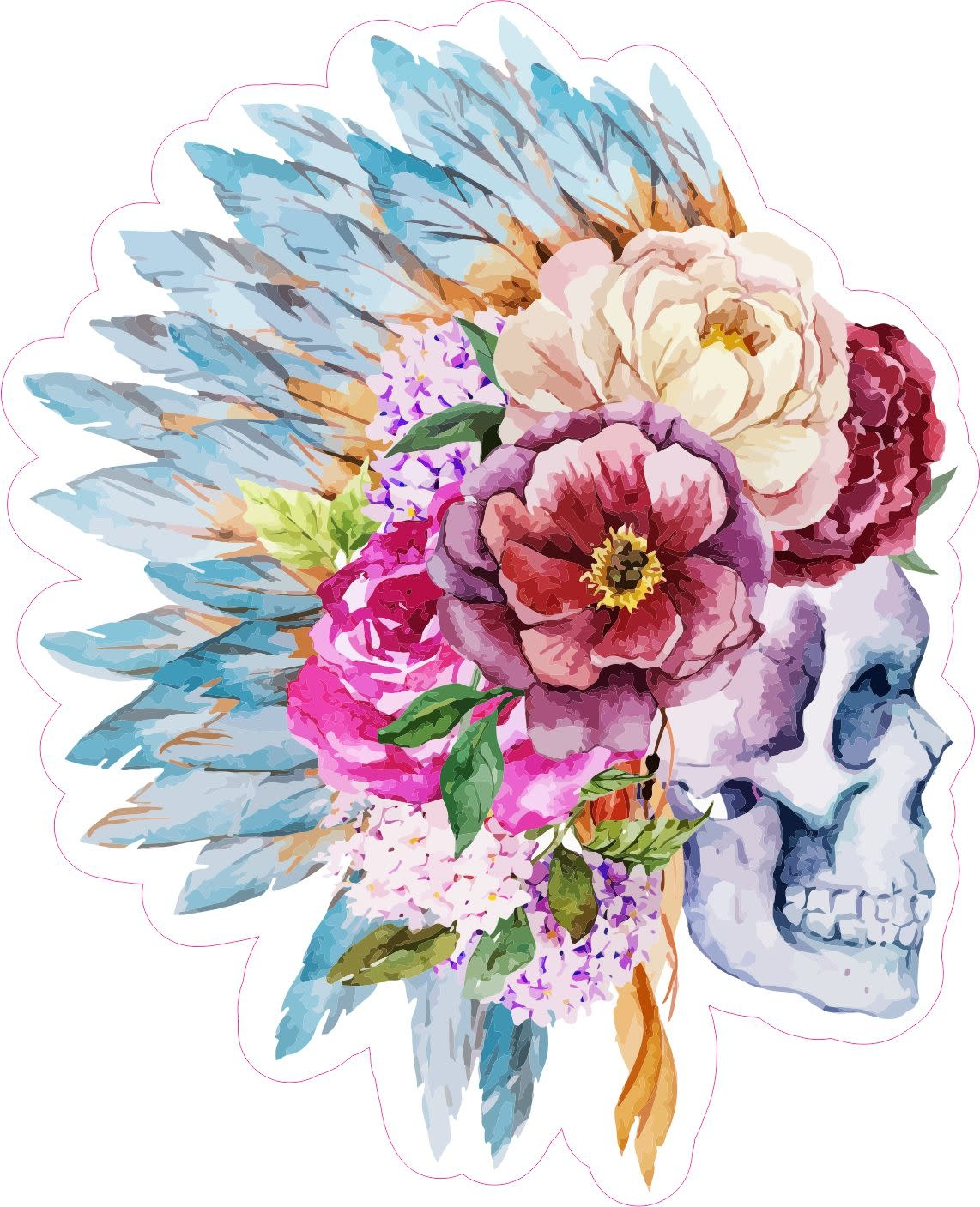 Boho Skull with Feathers