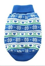 Doggie Design Combed Cotton Snowflake and Hearts Dog Sweater