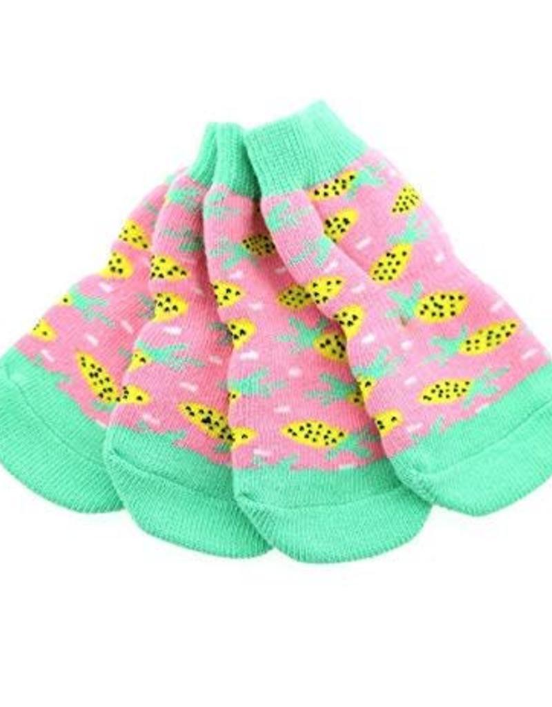 Doggie Design Non-Skid Dog Socks - Pink Pineapple