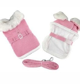 Doggie Design Pink Houndstooth & White Fur Collar Coat