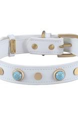 Dosha Dog Inc. Boho Collar - White with Turquoise Glass