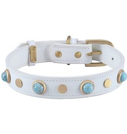 Dosha Dog Inc. Boho Collar - White with Turquoise Glass