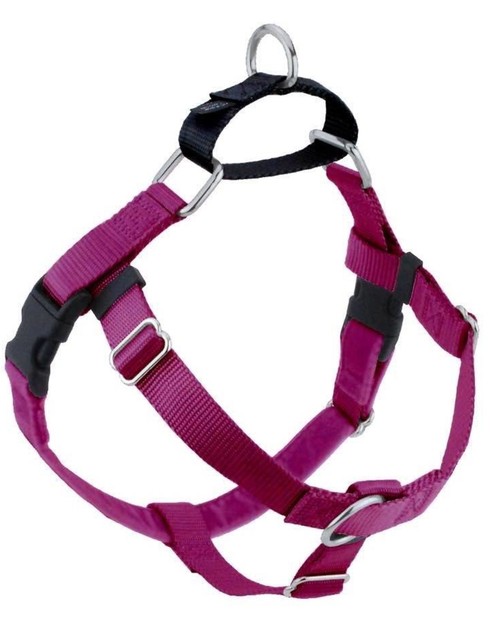 "2 Hounds Design 1"" Freedom Harness and Leash - Raspberry"
