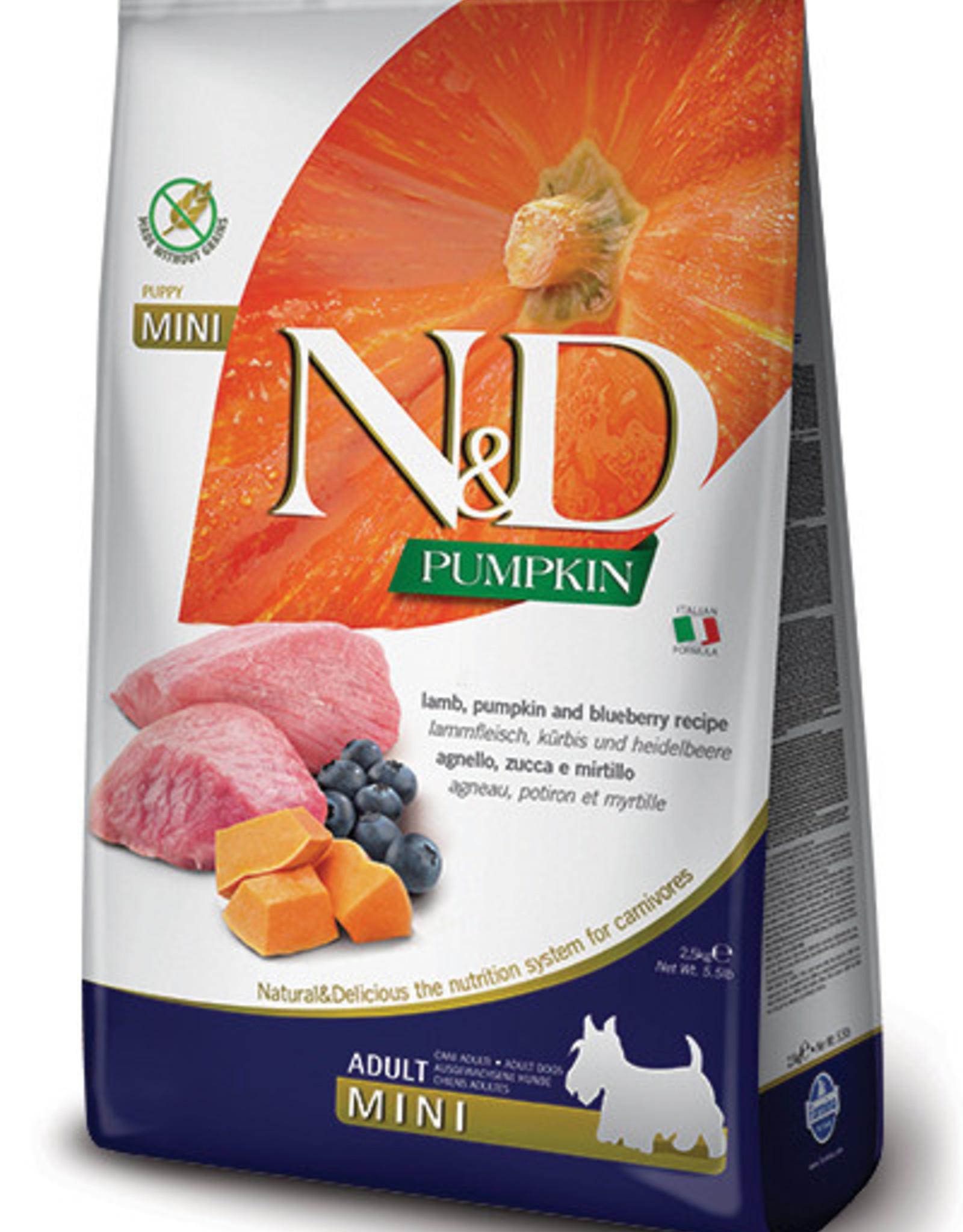 Farmina N&D Pumpkin Mini GF Adult Dog Food  Lamb & Blueberry 15.4 lbs