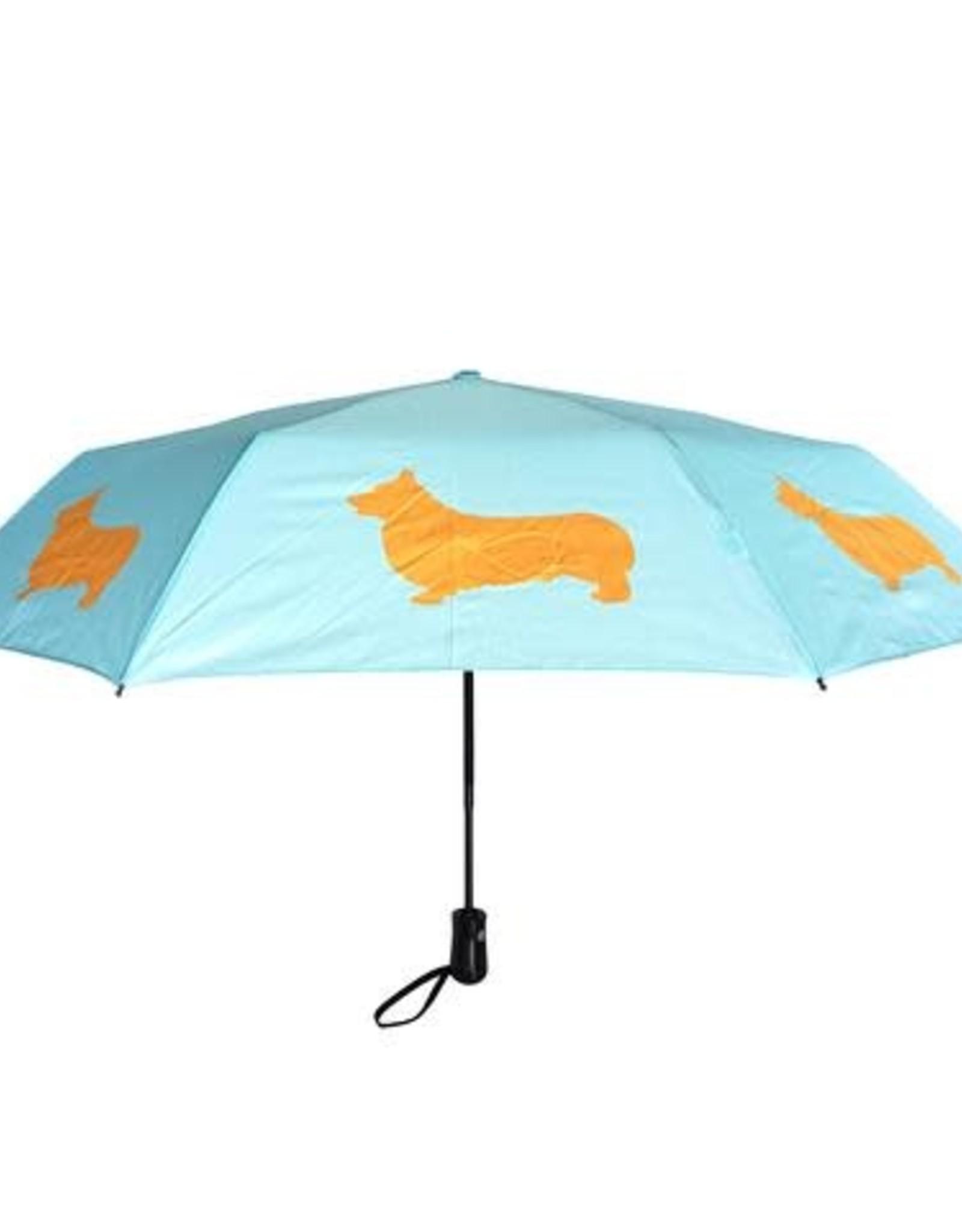 San Francisco Umbrella Company SFUC Collapsible Umbrella with Auto Open Welsh Corgi