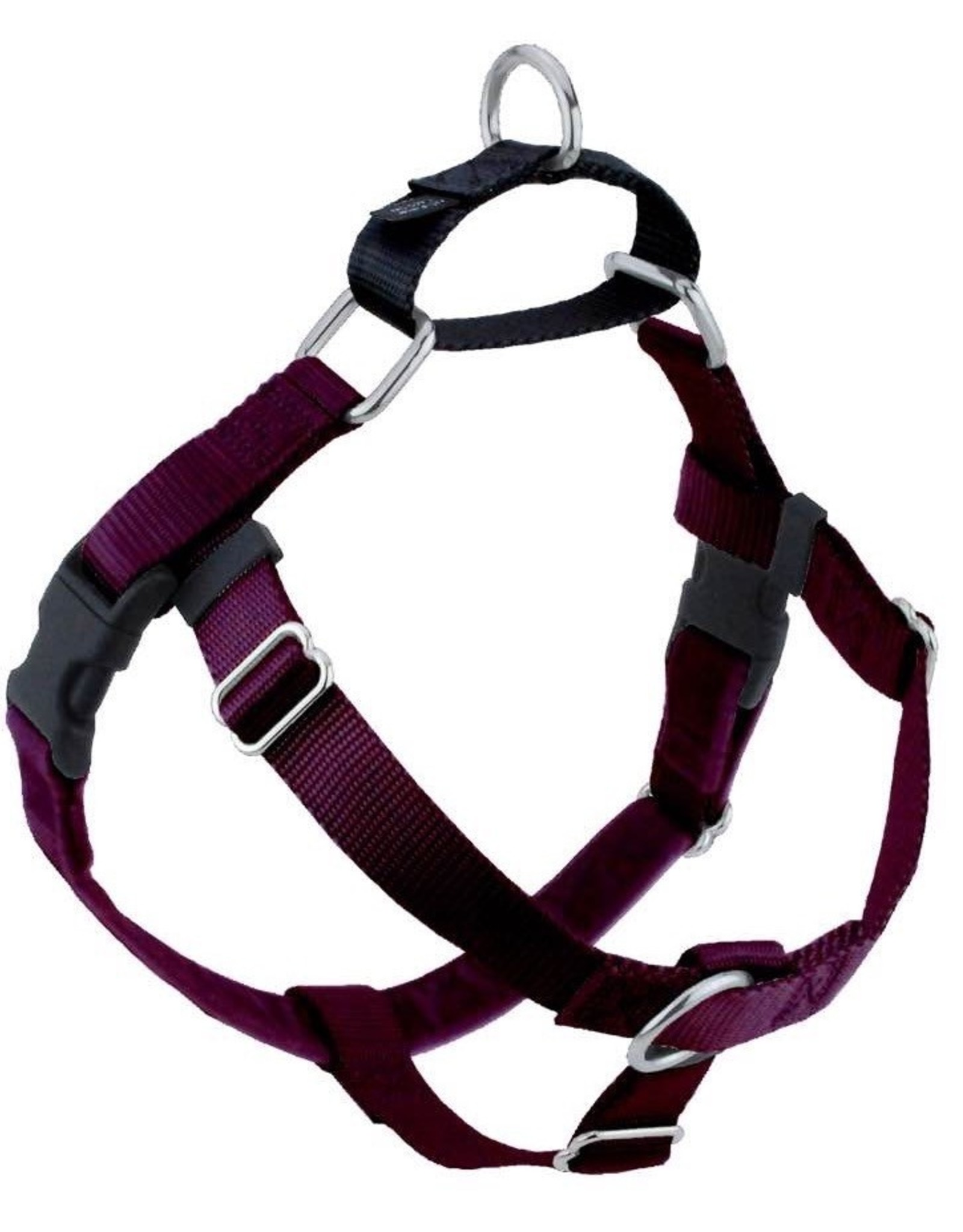 """2 Hounds Design 1"""" Freedom Harness and Leash - Burgundy"""