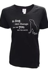 Dog is Good A Dog Can Change Women's V-Neck Shirt