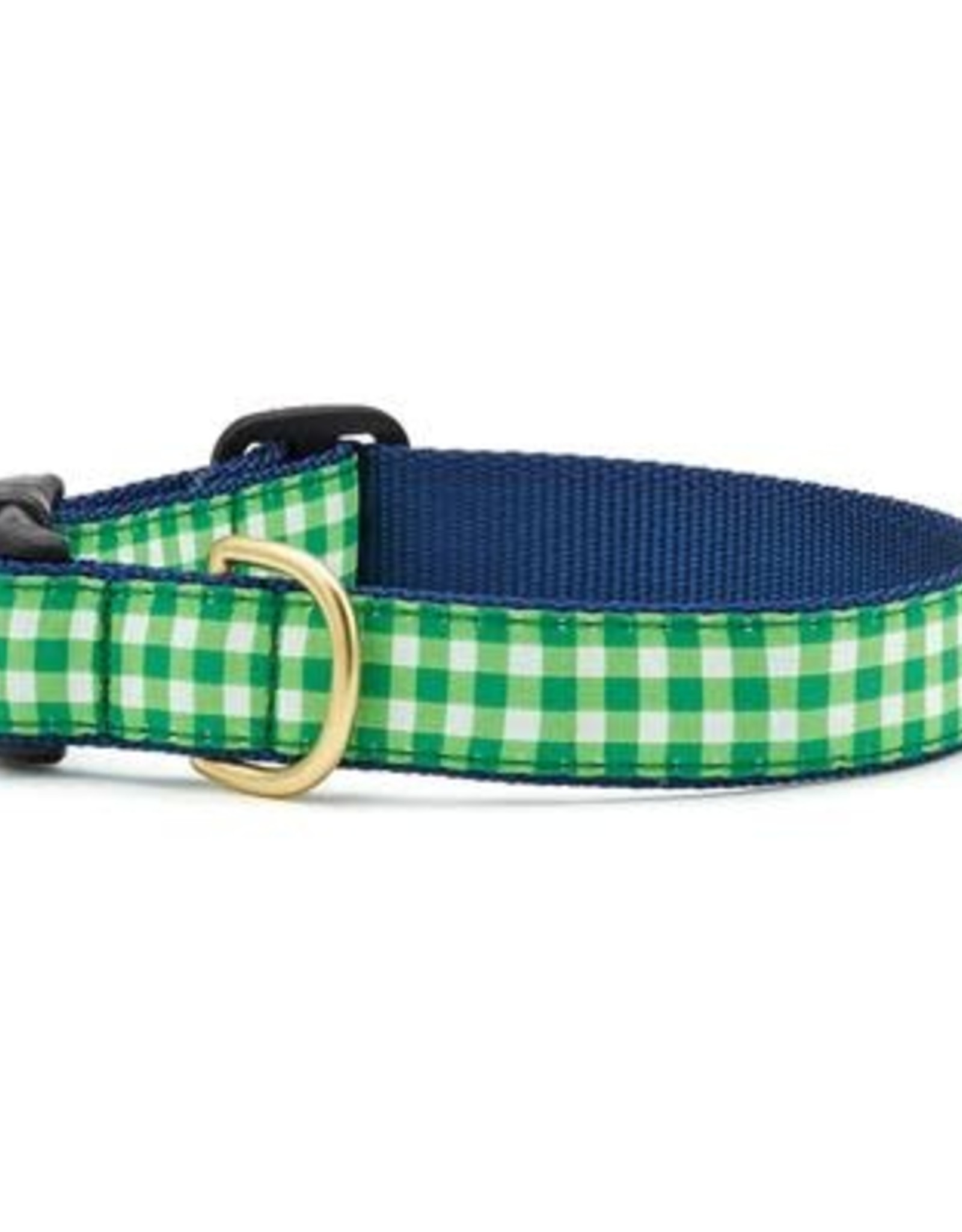 Up Country Lime Gingham Dog Collar