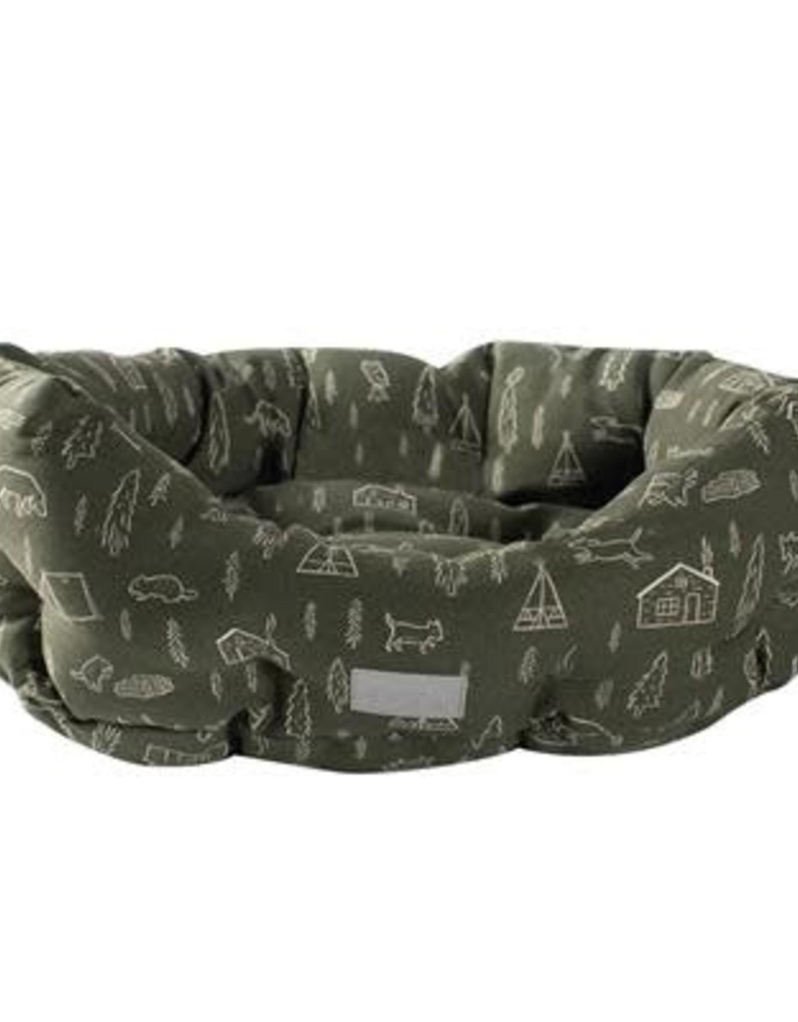 Pet Shop by Fringe Studio Fringe Studio Camping Olive Round Cuddler Bed- Medium