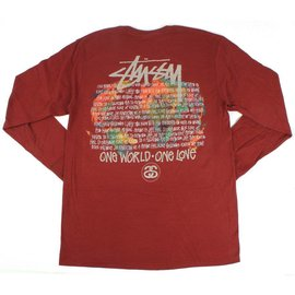 Stüssy One World Longsleeve - Wine