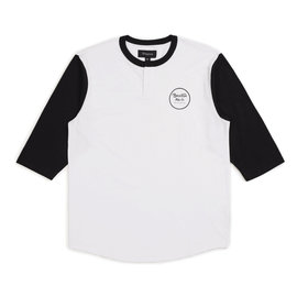 Brixton Wheeler 3/4 Sleeve Henley Tee - White/Black