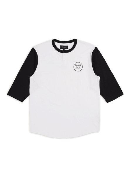 Brixton Wheeler 3/4 Sleeve Henley Tee - White/Black