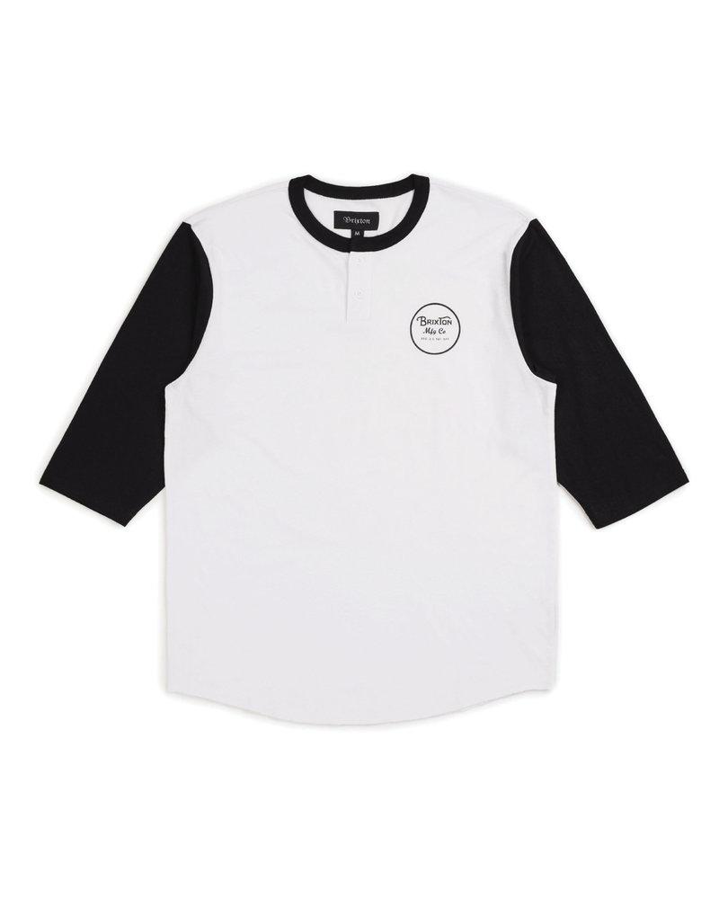 Brixton Brixton Wheeler 3/4 Sleeve Henley Tee - White/Black