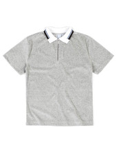 QUASI QUASI VELOUR ZIP POLO HEATHER GREY