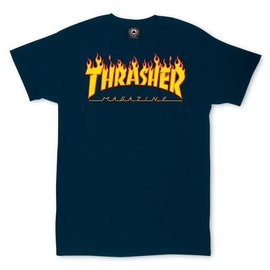 Thrasher Navy Flames Logo Tee