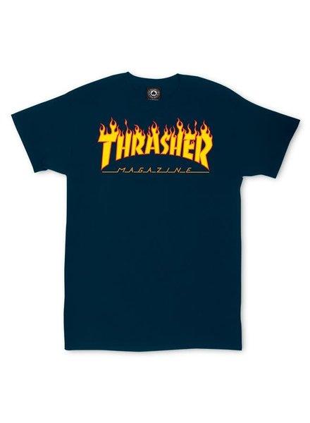 Thrasher Flames Tee - Navy