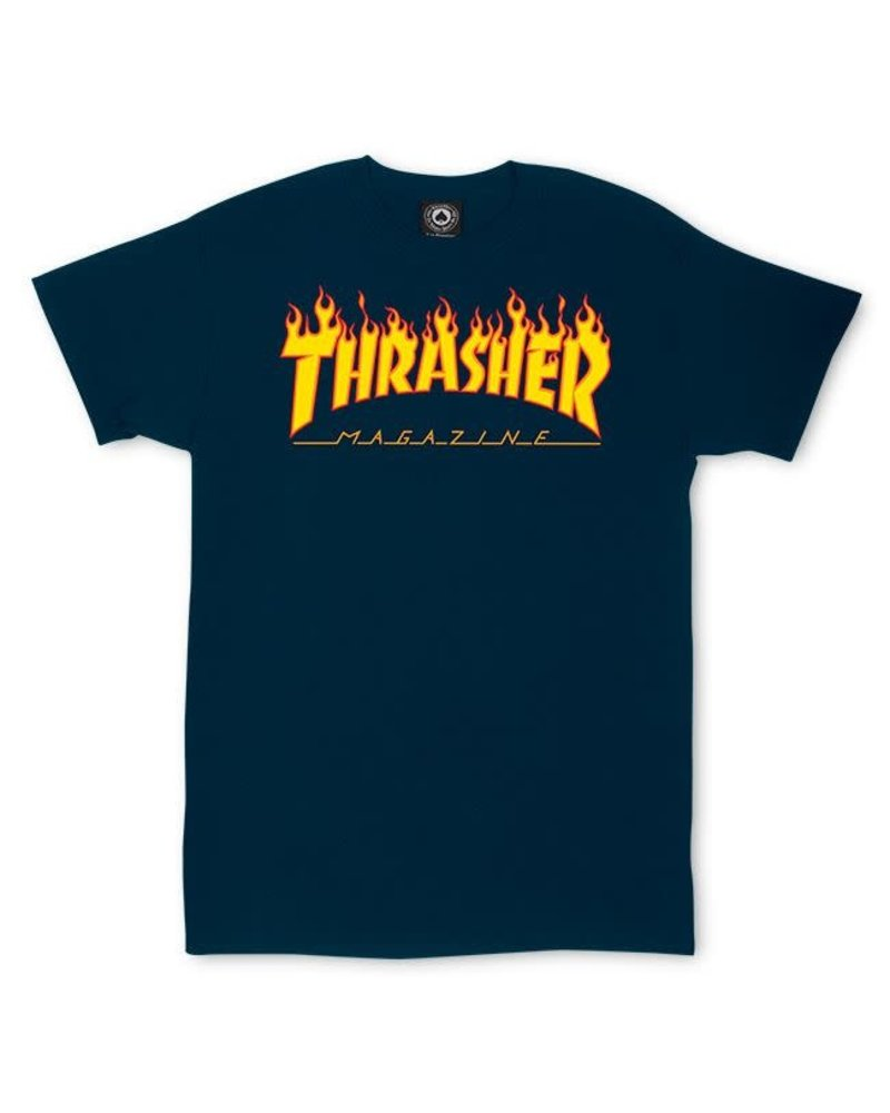 438f90570db5 Thrasher Flames Tee - Navy - Identity Boardshop