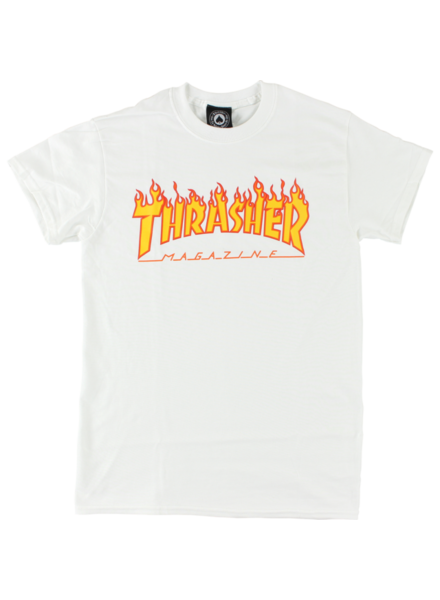 Thrasher Flames Tee - White