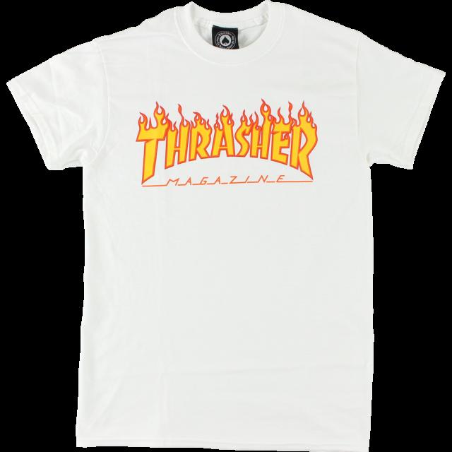 f53a63de523ee7 Thrasher - Flames Tee (White) - Identity Boardshop