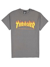 Thrasher Flames Tee - Charcoal