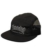 Thrasher Flame Outline 5 Panel Hat - Black