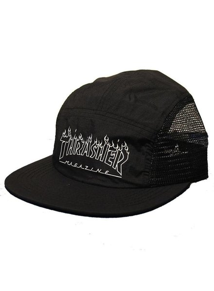 Thrasher Flame Outline 5 Panel Hat - Black